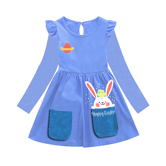 Niños Poco Chica Vestido Animal Azul Piscina Vestidos