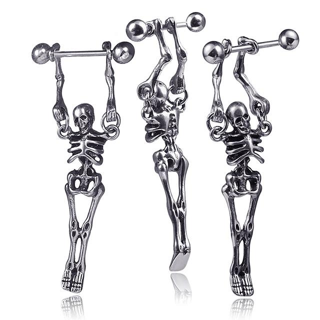 رجالي حلقات كلاسيكي ميني الأقراط مجوهرات فضي من أجل عيد الميلاد مناسب للحفلات الذكرى السنوية مهرجان 1PC