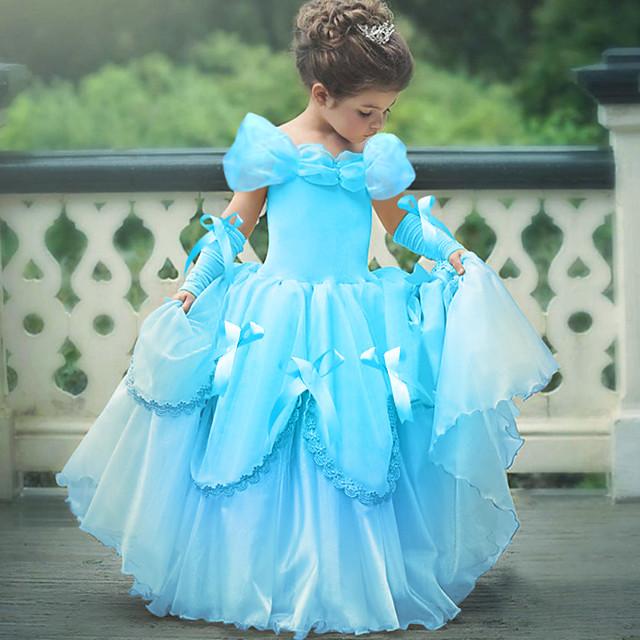 Princesse Belle Rétro Vintage Robe Gants Costume de Soirée Robe de demoiselle d'honneur Fille Enfant Costume Jaune / Rose / Bleu Ciel Vintage Cosplay Sans Manches