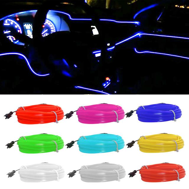 5 m / lot flexible éclairage intérieur de voiture led bande guirlande câble métallique tube ligne néon lumière avec usb lecteur contrôleur 8 couleurs 12 v