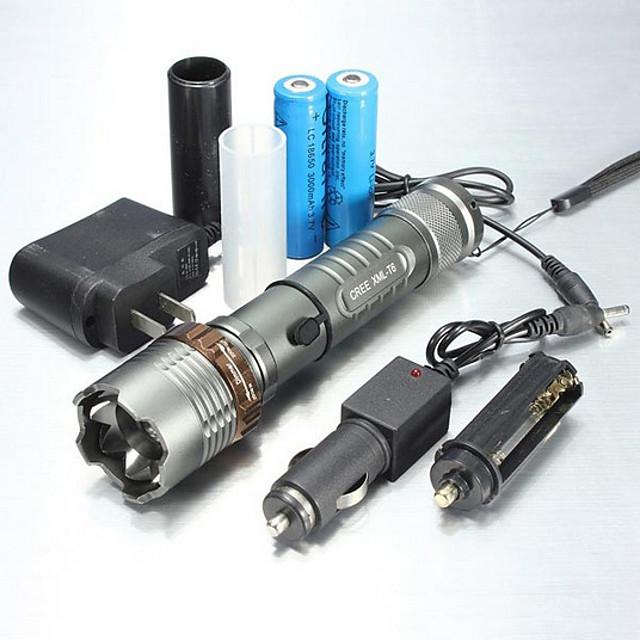 UltraFire 5 Lampes Torches LED Imperméable Fonction Zoom 1000/1200/2000 lm LED LED 1 Émetteurs 5 Mode d'Eclairage avec Pile et Chargeurs Imperméable Fonction Zoom Rechargeable Faisceau Ajustable