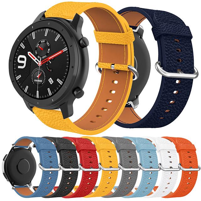 smartwatch band til amazfit gtr 47mm / stratos3 / nexo / tempo / stratos 2 / stratos huami sport band high-end mode behagelig læder loop ægte læder håndledsrem 22m