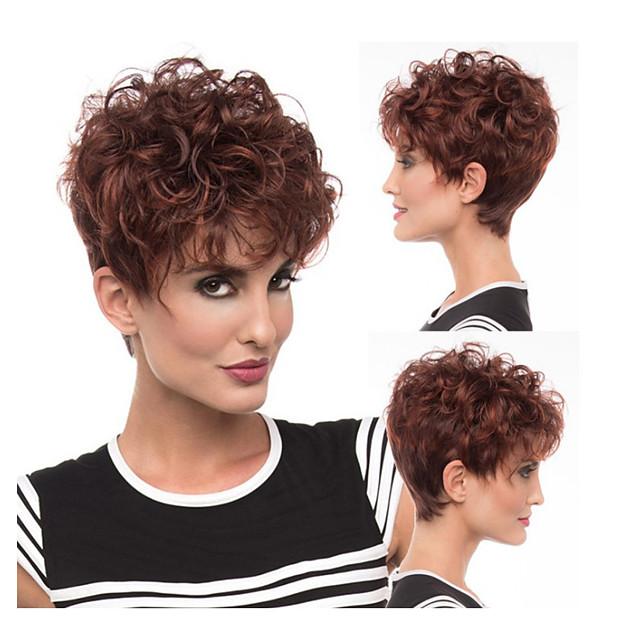 Perruque Synthétique Bouclé Coupe Asymétrique Perruque Court Rouge Bordeaux Cheveux Synthétiques 6 pouce Femme Meilleure qualité Bourgogne