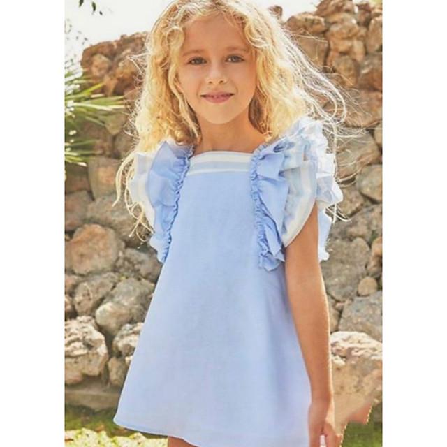 아동 작은 여아 드레스 솔리드 푸른 드레스