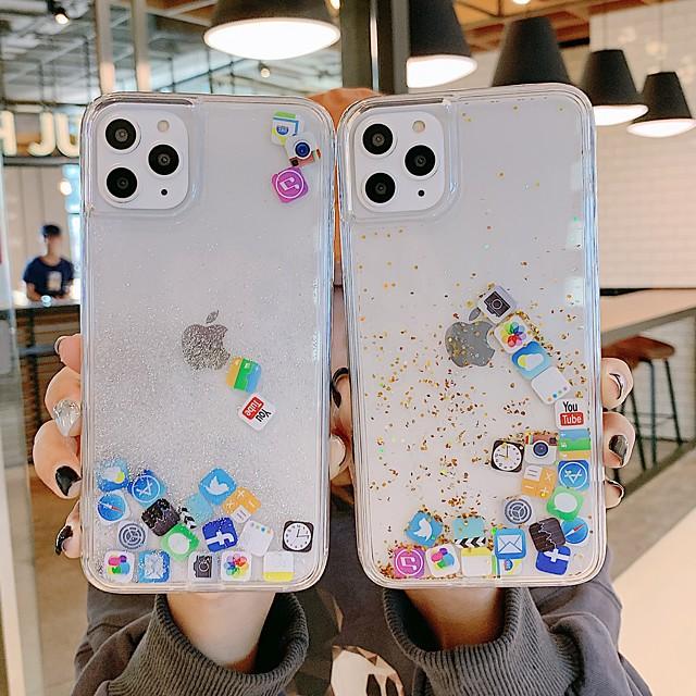 Θήκη Za Apple iPhone 11 / iPhone 11 Pro / iPhone 11 Pro Max Otporno na trešnju / S tekućinom Stražnja maska Igra s Appleovim logom / Prozirno TPU