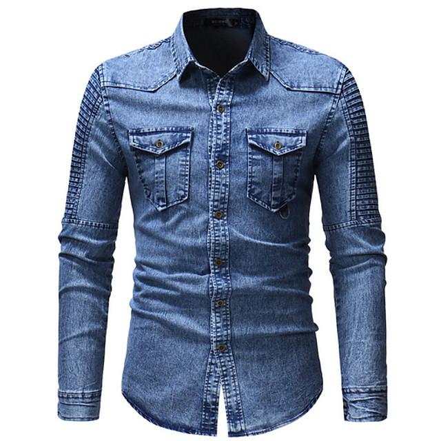 Homens Sólido Camisa Social Manga Longa Diário Blusas Azul Cinzento