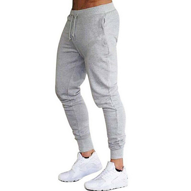 Men's Basic Sweatpants Pants Solid Colored Full Length Black Wine Army Green Light gray