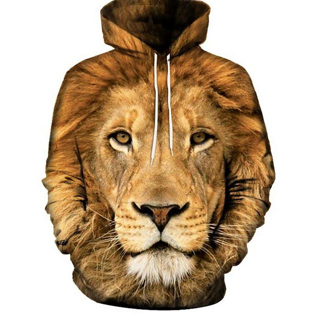 Voor heren Trui met capuchon 3D Basic Hoodies Sweatshirts Bruin