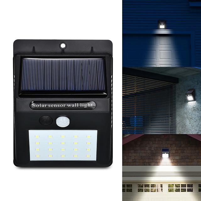 LED solaire puissance pir mouvement capteur applique murale 20 led extérieur étanche économie d'énergie rue cour chemin maison jardin lampe de sécurité