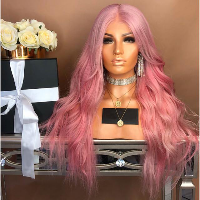 Perruque Synthétique Ondulation naturelle Coupe Asymétrique Perruque Longue Rose Cheveux Synthétiques 27 pouce Femme Au Milieu Rose
