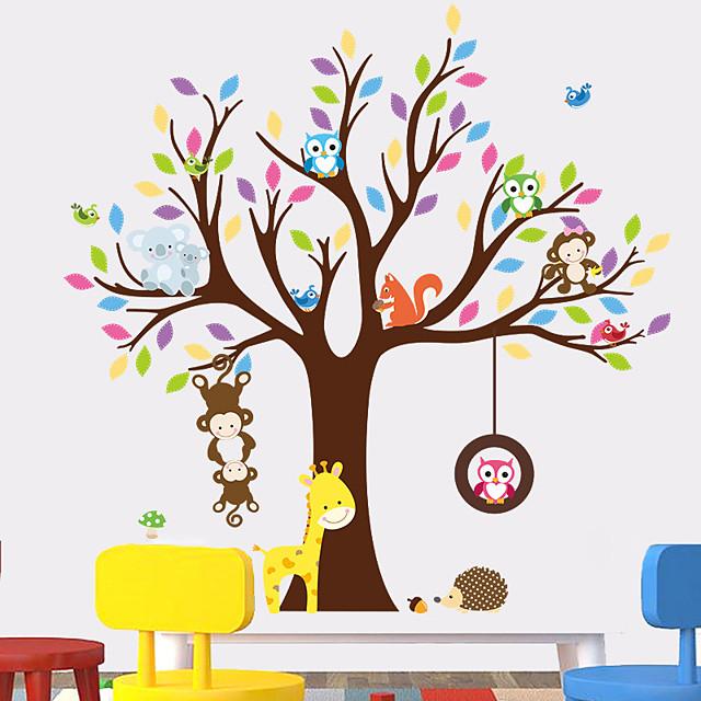 الزرافة البومة قرد شجرة غابة الحيوانات ملصقات الحائط للأطفال غرفة الأطفال غرفة نوم جدار الشارات ديكور الحضانة المشارك جدارية