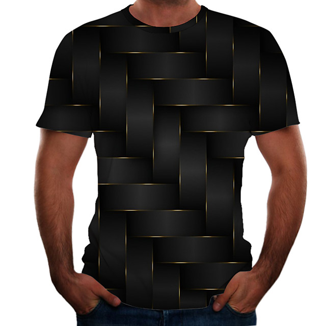 Men's T shirt Color Block 3D Plus Size Short Sleeve Daily Tops Basic Black
