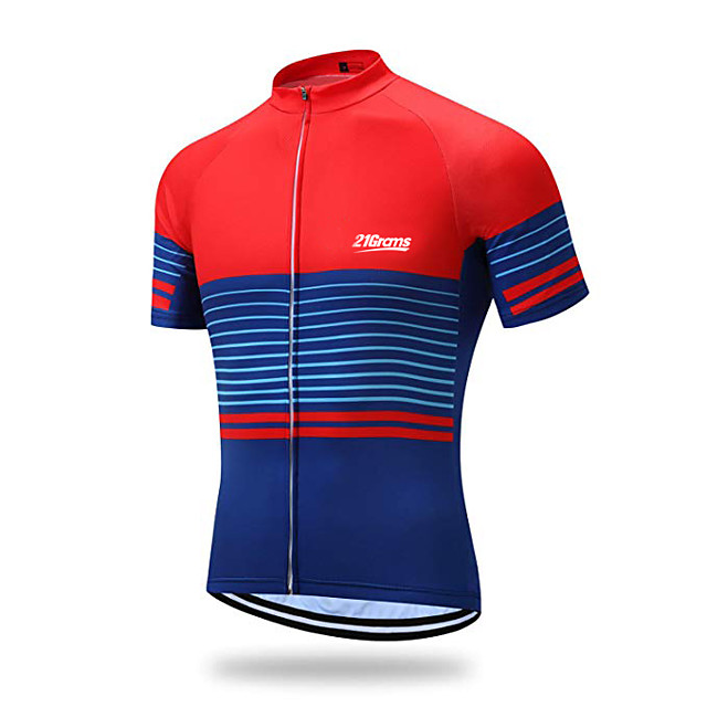 21Grams 남성용 짧은 소매 싸이클 져지 스판덱스 레드 + 블루 스트라이프 자전거 져지 탑스 산악 자전거 로드 사이클링 자외선 방지 빠른 드라이 통기성 스포츠 의류 / 스트레치
