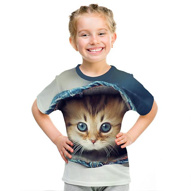 Kids Girls' T shirt Tee Short Sleeve Cat 3D Animal Print Rainbow Children Tops Active Streetwear Cute