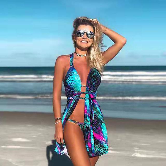 نسائي بيكيني ملابس السباحة طبيعي ملابس السباحة بدلة سباحة أزرق / ستيانات محشية