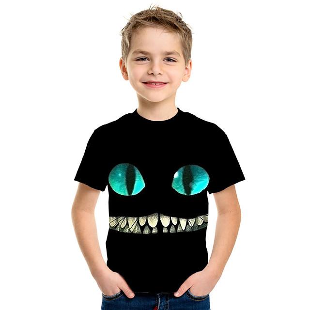 أطفال للصبيان تي شيرت كنزة مطبوعة كم قصير قطة أنيمي 3D حيوان طباعة أطفال الصيف قمم نشيط موضة أسود