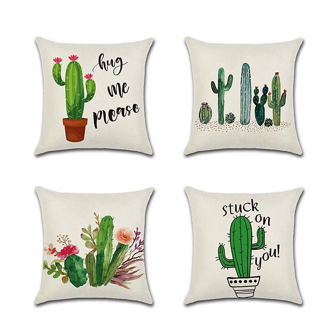 4 piezas funda de almohada de lino flores de cactus almohada rústica de vacaciones 45 * 45 cm