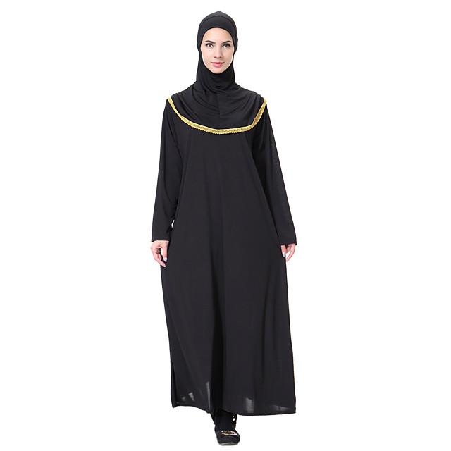 여성용 루즈핏 골드 그레이 긴 소매 한 색상 베이직 라운드 넥 보호 M L XL