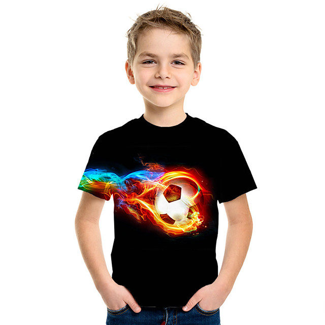 Kids Boys' T shirt Tee Short Sleeve Graphic Prints Football Navy White Black Children Tops Summer Active Streetwear Competition 3-12 Years