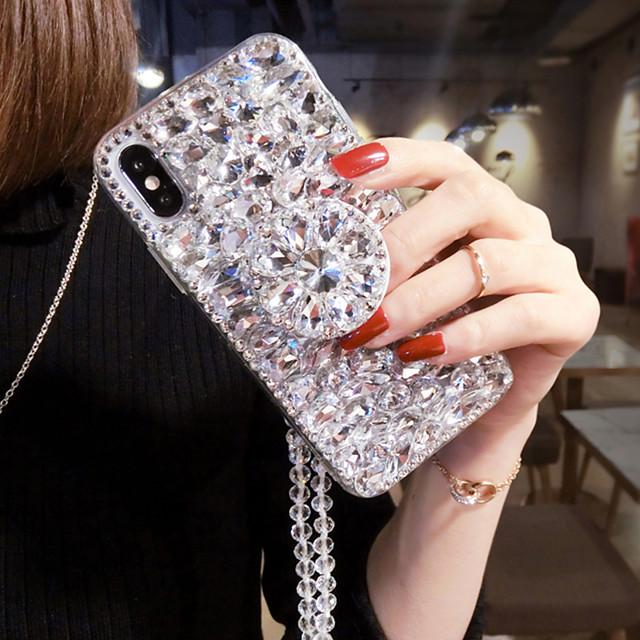 téléphone Coque Pour Apple Coque Arriere iPhone 12 Pro Max 11 SE 2020 X XR XS Max 8 7 6 Strass Couleur Pleine Textile