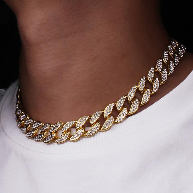 Bărbați Lănțișoare Clasic Link cubanez Mariner Chain Punk Rock Zirconiu Placat Auriu Crom Auriu Argintiu 50 cm Coliere Bijuterii 1 buc Pentru Zilnic Stradă