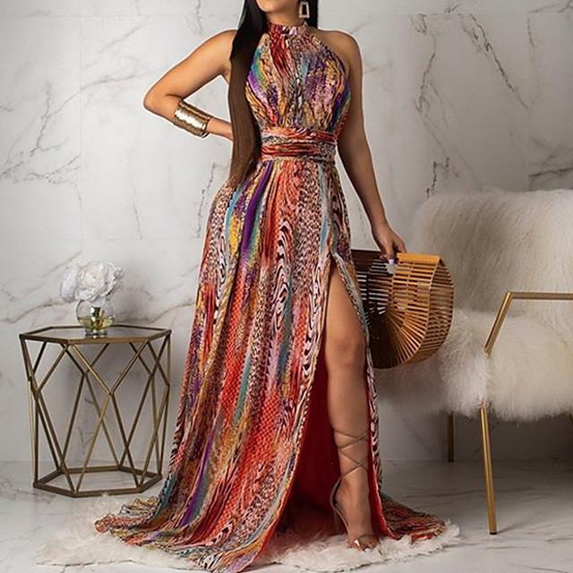여성용 A 라인 드레스 클로버 레인보우 민소매 기하학적 봄 여름 라운드 넥 2021 S M L XL