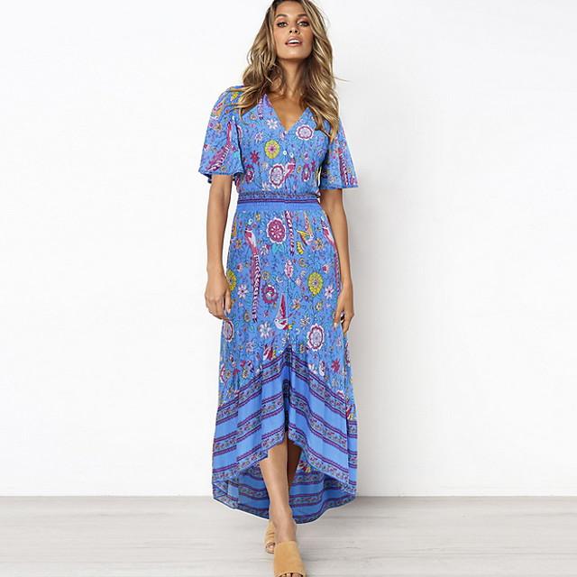 여성용 시프트 드레스 루비 네이비 블루 네이비 블루 짧은 소매 기하학 V 넥 S M L XL