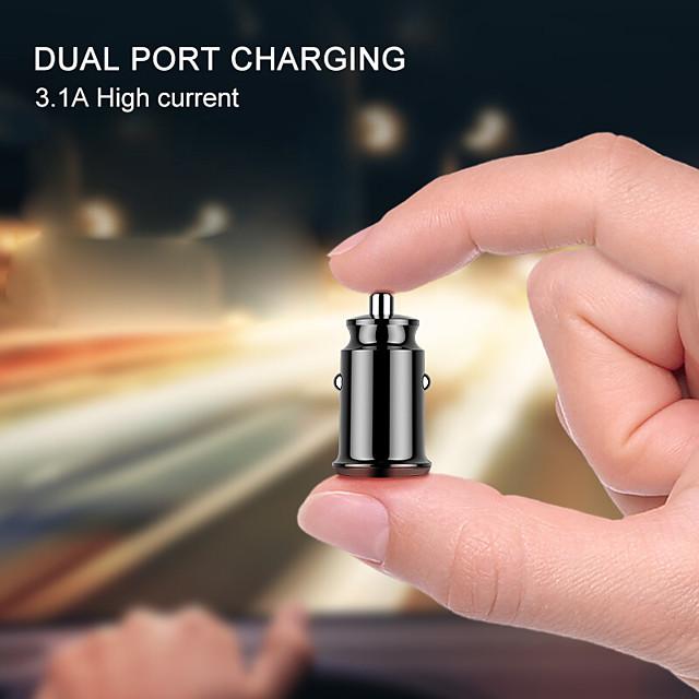 Adattatore per caricabatteria da auto mini usb 3.1a con display a led digitale caricatore da auto universale doppio telefono usb per samsung iphone 7 plus 6 5s