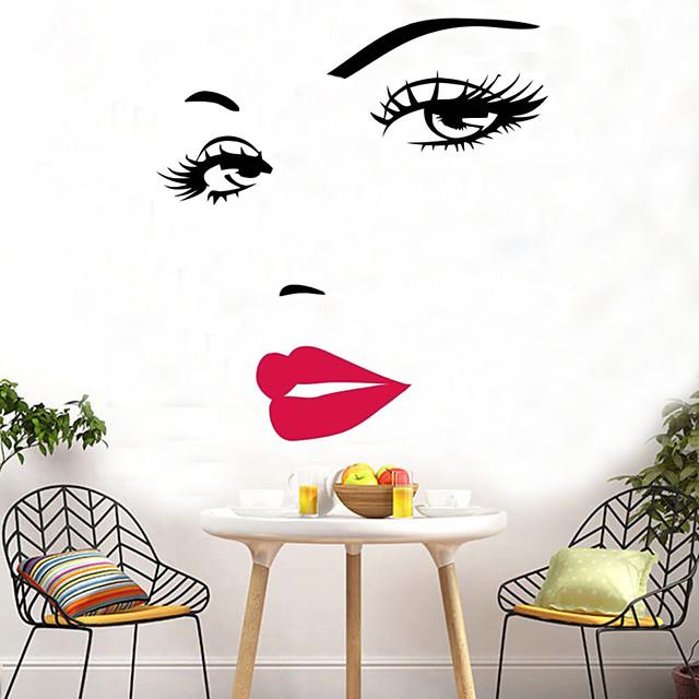 섹시한 헵번 빨간 입술 벽 스티커 마릴린 먼로 얼굴 눈 빨간 입술 벽 스티커 벽 예술 홈 장식 벽 스티커