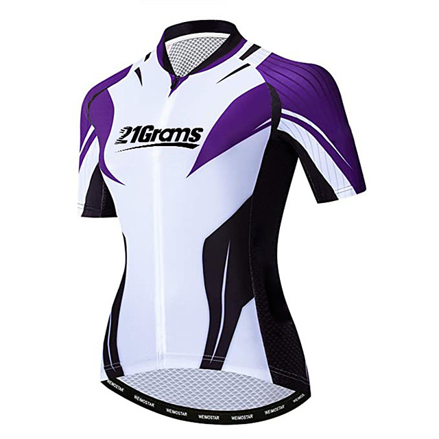21Grams 여성용 짧은 소매 싸이클 져지 스판덱스 블랙 / 화이트 자전거 져지 탑스 산악 자전거 로드 사이클링 자외선 방지 빠른 드라이 통기성 스포츠 의류 / 스트레치