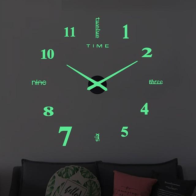 벽 시계 시계 현대적인 디자인 시계 디지털 큰 큰 3d diy 홈 장식 빛나는 luminova 거울 스티커