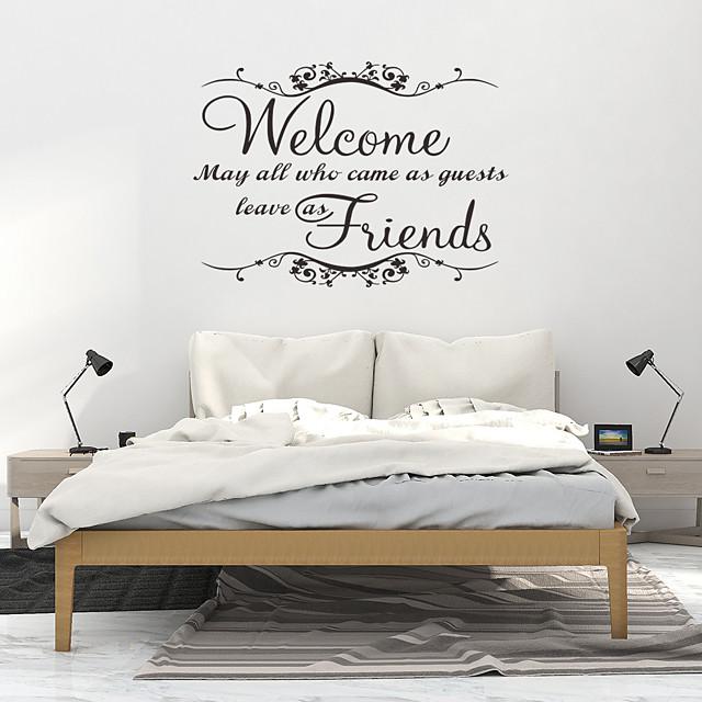 pvc behang voor woonkamer nieuwe mode welkom vriend art vinyl muurschildering home room decor muurstickers 57 * 41 cm