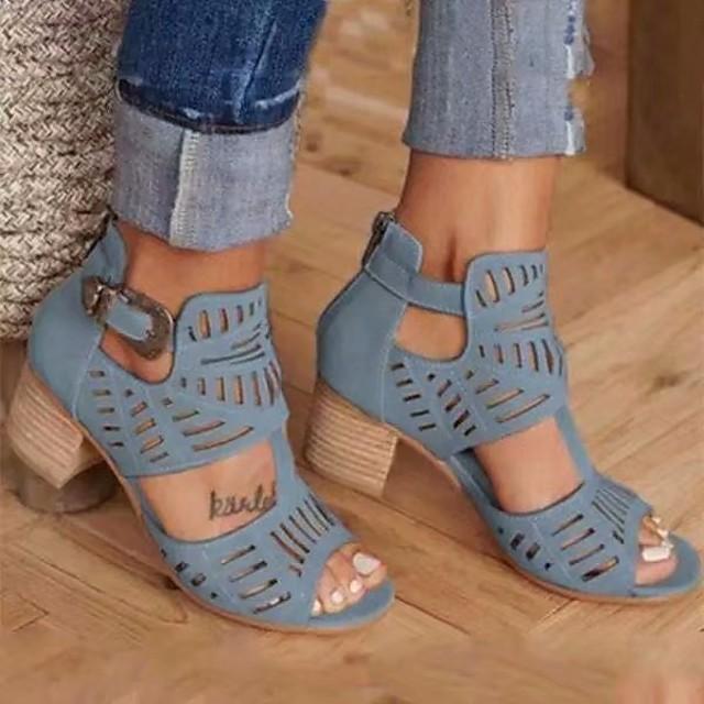 Dames Sandalen Blokhak Open teen Sandalen met blokhak Dagelijks PU Zwart Rood Blauw