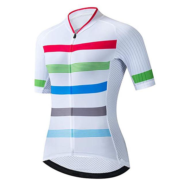 21Grams 여성용 짧은 소매 싸이클 져지 스판덱스 레드  / 화이트 스트라이프 자전거 져지 탑스 산악 자전거 로드 사이클링 자외선 방지 빠른 드라이 통기성 스포츠 의류 / 스트레치