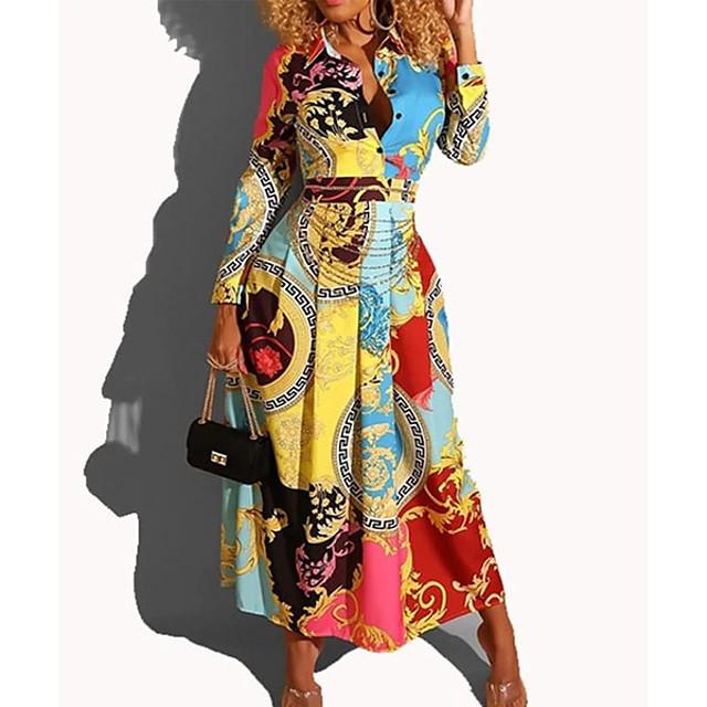 여성용 A 라인 드레스 맥시 드레스 밝은 블루 긴 소매 기하학 셔츠 카라 뜨거운 우아함 휴가 드레스 S M L XL XXL