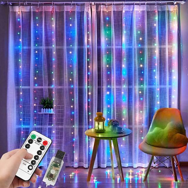 3x2m κουρτίνα παραθύρου φως 200 led 8 τρόποι φωτισμού χριστουγεννιάτικα διακοσμητικά φώτα παραθύρων για υπνοδωμάτιο πάρτι γάμου σπίτι εσωτερική εξωτερική αδιάβροχο