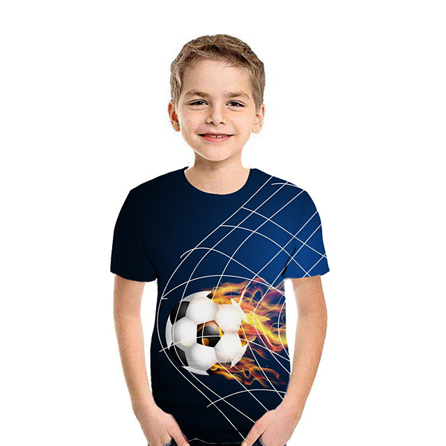 Kids Boys' T shirt Tee Short Sleeve Patchwork Geometric 3D Print Blue Purple Red Children Tops Summer Active Streetwear New Year