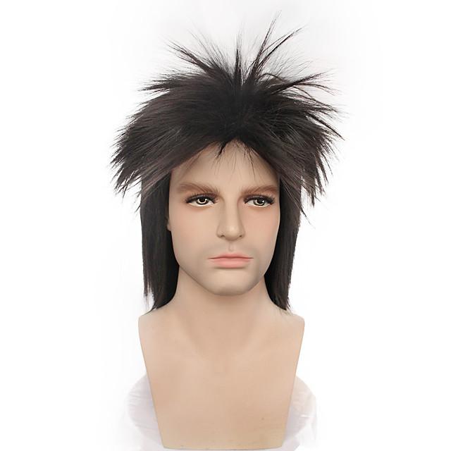 코스프레 히피 락스타 코스프레 가발 남성용 비대칭 헤어컷 19 인치 열 저항 섬유 곱슬머리 스트레이트 블랙 어른' 애니메이션 가발