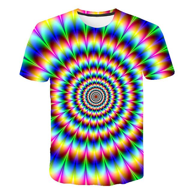 Enfants Garçon T-shirt Tee-shirts Manches Courtes à imprimé arc-en-ciel Bloc de Couleur 3D Imprimé Enfants Eté Hauts basique Chic de Rue Rouge Vert Arc-en-ciel