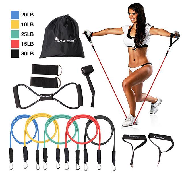 KYLINSPORT Set Benzi de Rezistență 12 pcs 5 benzi de exerciții stivuibile Ancora de ancorare Picioare curele de glezne Sport Latex Pilates Acasă antrenament Fitness Antrenament forță Construcție