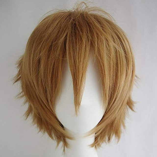 Peruca costum cosplay Peruci Sintetice Buclă în vrac Halloween Frizură Asimetrică Perucă Scurt Blond Păr Sintetic 10 inch Bărbați Cea mai buna calitate Blond