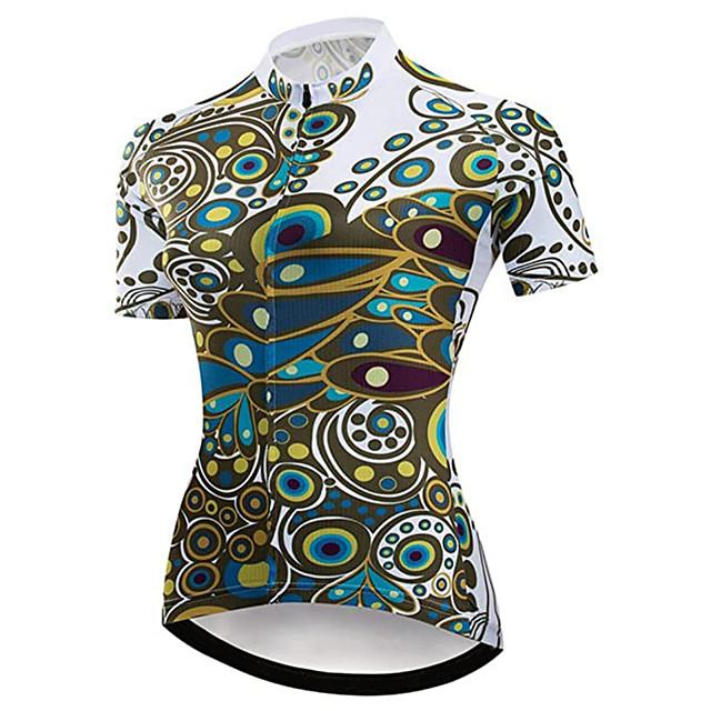 Femme 21Grams Maillot Velo Cyclisme Manches Courtes Spandex Bleu + vert. Paon Cyclisme VTT Vélo tout terrain Vélo Route Maillot Sommet Résistant aux UV Respirable Séchage rapide Des sports Vêtement