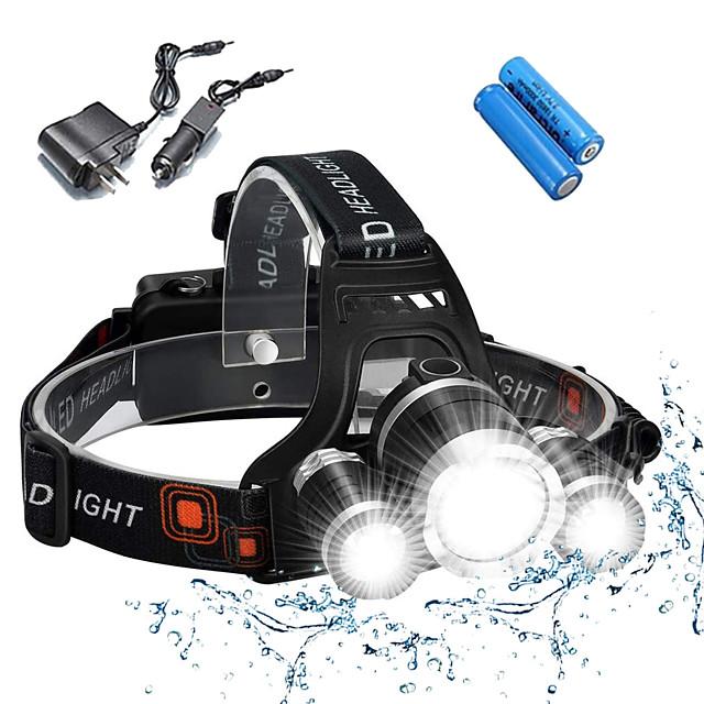 Torce frontali Luci bici Fanale anteriore Impermeabile Ricaricabile 5000 lm LED 3 emettitori 4.0 Modalità di illuminazione con batterie e caricabatterie Impermeabile Ricaricabile Resistente agli urti