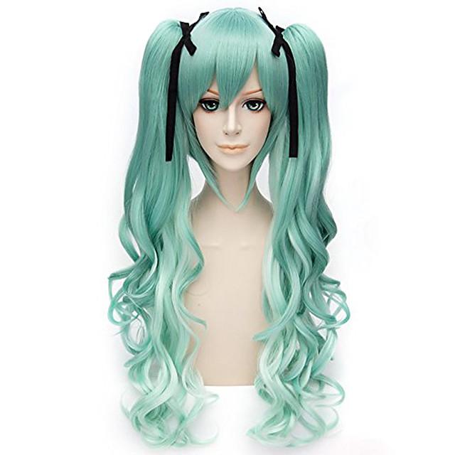 Cosplay Hashibira Inosuke Cosplay-parykker Dame Med 2 ponytails 28 tommers Varmeresistent Fiber Krøllet Grønn Voksne Anime Wig