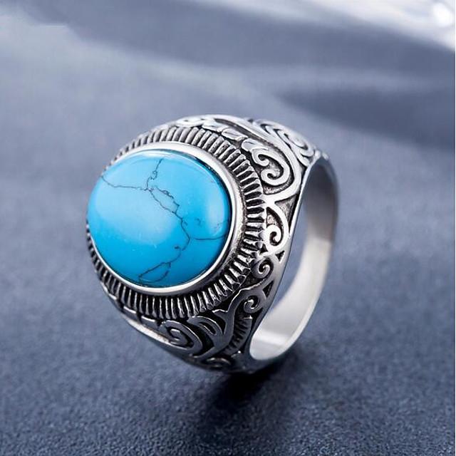 새해 맞이 터코아즈 기하학적 인 블랙 푸른 티타늄 스틸 돌 귀한 패션 빈티지 1 개 9 10 / 남성용