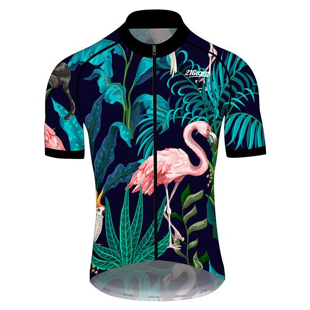 21Grams Erkek Kısa Kollu Bisiklet Forması Yaz Splandeks Polyester Pembe+Yeşil Flamingo Çiçek / Botanik Hayvan Bisiklet Forma Üstler Dağ Bisikletçiliği Yol Bisikletçiliği Uv dayanıklı Hızlı Kuruma