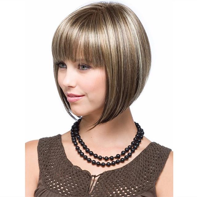 Synteettiset peruukit Kinky Straight Bob-leikkaus Peruukki Lyhyt Mansikka Blonde  / Vaalea vaalea Synteettiset hiukset 10 inch Naisten Naisten Ruskea