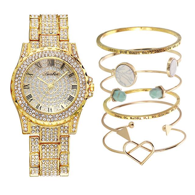 Dames Armbandhorloge Stalen Horloge Kwarts Luxe Schattig Analoog Rose Goud Goud Zilver / Een jaar / Roestvrij staal / imitatie Diamond / Een jaar
