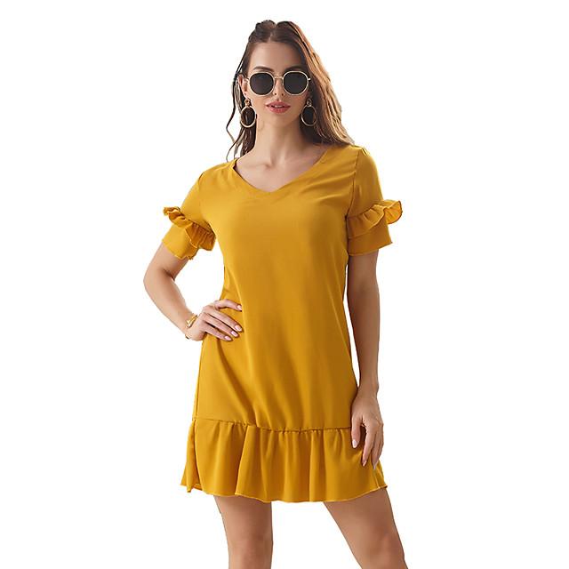 สำหรับผู้หญิง เดรสทรงตรง สีเหลือง ไวน์ แขนสั้น สีทึบ ระบาย คอวี ไม่เป็นทางการ สไตล์น่ารัก แขนกลีบ S M L XL