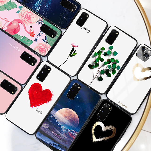 samsung карта сцены samsung galaxy s20 s20 plus s20 ультра красочная любовь нарисовал образец закаленное стекло задняя пластина рама тпу 2-в-1 анти-капля чехол для мобильного телефона jmgd